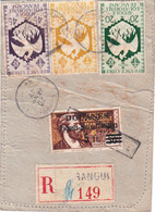 Etiquette D'envoi Recommandé Pesant Affranchie à 29F Obl Bangui 20 Janvier 1947 + Le Rare 5F Paquets-poste Familiaux - Covers & Documents