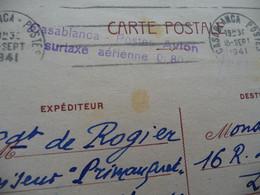 Maroc Casablanca Pour Laigle Entier Iris Grife Bleu Casablanca Postes Avion Surtaxe Aérienne 0F80 1941 - Cartas