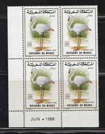 Maroc. Coin Daté De 4 Timbres. Yvert & Tellier N° 1057. 1988. Faune Marocaine. Oiseaux. Flamant Rose. - Landwirtschaft