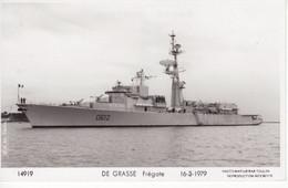 Marine Militaire Francaise   -    'DE GRASSE'  -  Frégate 1979  -   Marius Bar Photo Carte - Warships