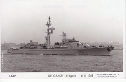 Marine Militaire Francaise   -    'DE GRASSE'  -  Frégate 1983  -   Marius Bar Photo Carte - Warships