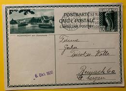 13387 - Küsnacht Am Zürichsee Neuchâtel 1.10.1930 - Enteros Postales