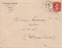 DAGUIN Solo (borgne) AUCH GERS 1911 Double Frappe Superbe / Lettre Affranchie 10c SEMEUSE - 1877-1920: Période Semi Moderne