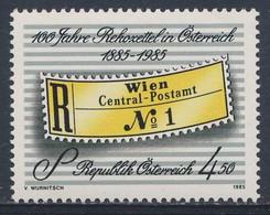 Austria Österreich 1985 Mi 1806 YT 1635 SG 2046 ** Einschreibzettel (1885) / Registration Label - 100 Jahre Rekozettel I - Post