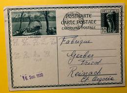 13390 - Locarno La Chaux-de-Fonds 13.09.1930 - Enteros Postales