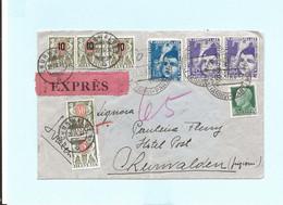 Lettre Exprès Septembre 1937 Départ Italie Pour Churwalden Suisse Timbres Mixtes Italie + Suisse - Storia Postale