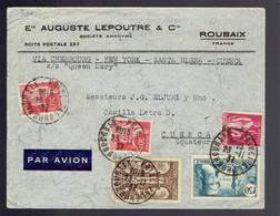 """Y/T 283 X 2 + 289 + 302 + 336 / Lsc Roubaix 23 11 37 => Cuenca ( Equateur ) Par S/S """" Queen Mary """" Voir Escales - Lettres & Documents"""