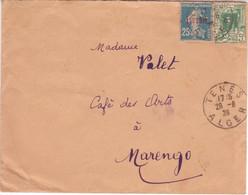Algérie 25c SEMEUSE Surcharge Affranchissement Mixte Avec émission Rue Casbah Oblitération TENES ALGER Lettre 1926 - Lettres & Documents