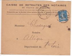 Lettre Avec DAGUIN Solo BARS / SEINE AUBE Double Frappe Oblitération / 25c SEMEUSE 1921 - 1921-1960: Période Moderne