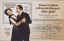 URUGUAY, 2020, MNH, CARLOS GARDEL, DANCING, SINGERS, ACTORS, MUSIC, CINEMA, S/SHEET - Farfalle