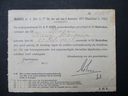 Oud Document 1926   INENTING  Tegen POKKEN  ROTTERDAM - Sin Clasificación