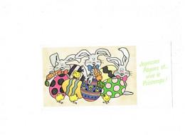 Grande Cpm - Illustration Joyeuses PAQUES Oeuf Poussin Lapin Carotte - Pascua