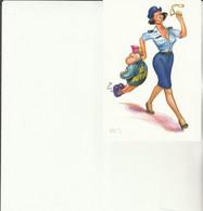 Z1 - Carte Humoristique Gendarmerie  : Femme Gendarme Avec Gamin Lance Pierres - Altri