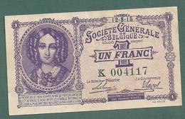 1 FRANC  FRANK -societe Generale De Belgique-12-3-1915-etat Tres Bon Et Tres Frais - 1-2 Francs