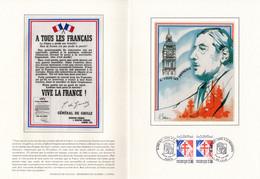 """"""" GENERAL DE GAULLE 50 ANS DE L'APPEL DU 18 JUIN 1940 """" Sur Encart 1er Jour LUXE N°té Sur Soie De 4 Pages Parf état. FDC - De Gaulle (General)"""