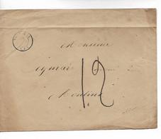 SOUVIGNY Allier CAD Type 15 + Taxe 12 Manuscrite Pour MOULINS 1866       ..G - 1849-1876: Classic Period