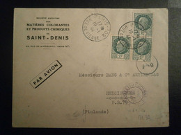 FRANCE PETAIN 518 PERFORE PERFIN LOCHUNG PERCE PERFORES PERFINS LETTRE ENVELOPPE AVION PLANE FINLANDE CENSURE CENSOR - Perfins