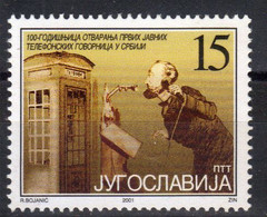 Yugoslavia,100 Years Of Opening The First Public Speakers In Serbia 2001.,MNH - Unused Stamps