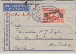 Niederl. Indien - 42 1/2 C. Flugpostmarke/Überdruck Luftpostbrief KPM Tridore - Zonder Classificatie