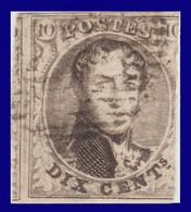 """COB N° 3 """"Médaillon"""" Filigrane """"LL"""" Encadré. Fond Quadrillé - 1849-1850 Medallions (3/5)"""