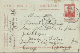 1913 INCOMING MAIL FROM Belgium To CAMP MILITAIRE D'IREBU CONGO FORCE PUBLIQUE ANDRIES Clement Charleroy Pellens - 1894-1923 Mols: Cartas