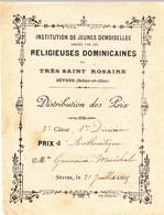 DISTRIBUTION DES PRIX ReIigieuses Dominicaines SEVRES Seine Et Oise - 1895 - Diplomi E Pagelle