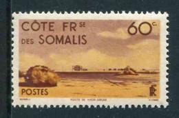 """TIMBRE** De 1947 Gommé De COTE DES SOMALIS """"60 C. - POSTE DE KHOR-ANGAR"""" - Ongebruikt"""