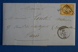 K2 FRANCE BELLE LETTRE 1861  PARIS BERCY POUR BD SEBASTOPOL+ AFFRANCH.INTERESSANT - 1853-1860 Napoléon III.