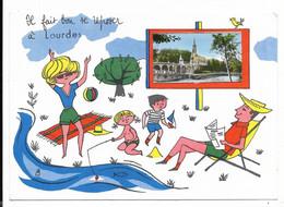 65-LOURDES-Carte Fantaisie Il Fait Bon Se Reposer à... 1967 - Lourdes