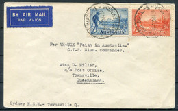 """1934 """"Faith In Australia"""" First Flight Cover Sydney - Townsville. Air Mail - Storia Postale"""
