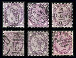 Timbres Grande Bretagne 1 Penny Mauve SG172 Différentes Teintes Oblitérations Filigrane Couronne Impériale - Unclassified