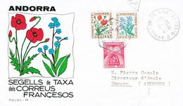 ANDORRE ANDORRS ( FRONTAL) CARTA CON SELLOS FRANQUICIA - Cartas