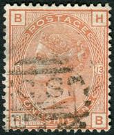 Timbre Grande Bretagne Reine Victoria 1 Shilling Orange Marron SG163 Plate 13 Filigrane Couronne Impériale - Unclassified