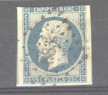 CLX  1006  -  France  :   Yv  15  (o)  PC  583 - 1853-1860 Napoléon III.