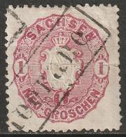 Saxony 1863 Sc 17 Sachsen Mi 16 Used Centre Fold Rectangular Cancel - Sachsen