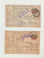 FRANCHIGIA LOTTO DI 2 CARTOLINE POSTA MILITARE ALBANIA N. 1 DEL 1916 CENSURA E ANNULLO R.CORPO SPECIALE ITALIANO - - Franchise