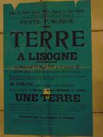 JM06.02 / VIEUX PAPIERS / AFFICHE  NOTARIALE / VENTE D'UNE TERRE /  LISOGNE -  1949 - Manifesti