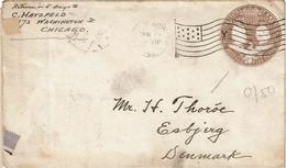 LCTN 67ETR- ETATS UNIS EP ENVELOPPE CHICAGO / ESBJERG JANVIER 1893 - ...-1900