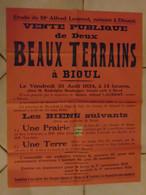 JM06.02 / VIEUX PAPIERS /  MAXI AFFICHE  NOTARIALE - 68 X  50 Cm /  VENTE 2 BEAUX  TERRAINS  /  BIOUL - 1934 - Manifesti