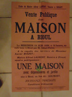 JM06.02 / VIEUX PAPIERS /  AFFICHE  NOTARIALE - 54 X  36 Cm /  VENTE MAISON   /  BIOUL - 1939 - Manifesti