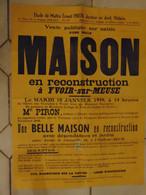 JM06.02 / VIEUX PAPIERS /  MAXI AFFICHE  NOTARIALE - 74 X  55 Cm /  VENTE MAISON EN RECONSTRUCTION  /  YVOIR - 1949 - Manifesti