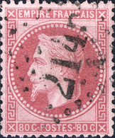 FRANCE - 1863-70 - Yv.32 80c Rose Sur Rose Pâle - Oblitéré GC 2145 (Lyon) - 1863-1870 Napoleone III Con Gli Allori