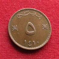 Oman 5 Baisa 1989 - 1990 / 1410 KM# 50  Omã - Oman