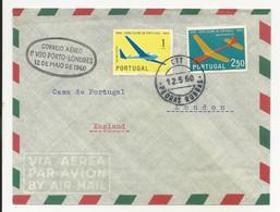 Cover First Flight Portugal Pedras Rubras 1960 Porto-Londres - Briefe U. Dokumente
