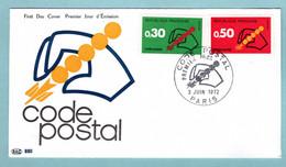 FDC France 1972 - Code Postal PTT - YT 1719 Et 1720 - Paris - 1970-1979