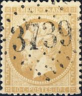 """FRANCE - 1862 - N°21 10c Bistre - Obl. GC """" 3739 """" (St Mandé/Paris) - TB - 1862 Napoléon III"""