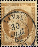 "FRANCE - 1862 - N°21 10c Bistre-brun - Obl. CàD T.15 "" LAVAL / (51) "" - TB - 1862 Napoléon III"