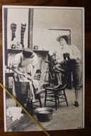 CPA Ak 1905 Humour Féminisme Femme Cigarette Lavandière Homme Lessive - Humor