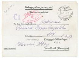 CLFM  CHECINY POLOGNE 1943 CAMP D'OFFICIERS PRISONNIERS OFLAG VIIA = MURNAÜ MUNICH 1943 - Prisoner Camps