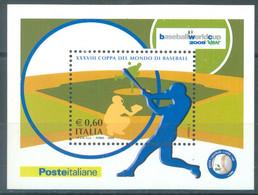 ITALIA - 2009 -  MNH/*** LUXE - BASEBALL - Sa FOGLIETTO 48  Yv BLOC 47 - Lot 23324 - Hojas Bloque